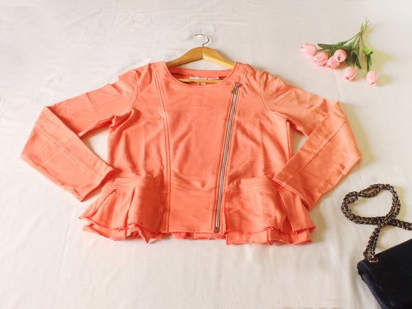 High Quality  European Style Women Long sleeves blazers Suit with zipper (Peach)