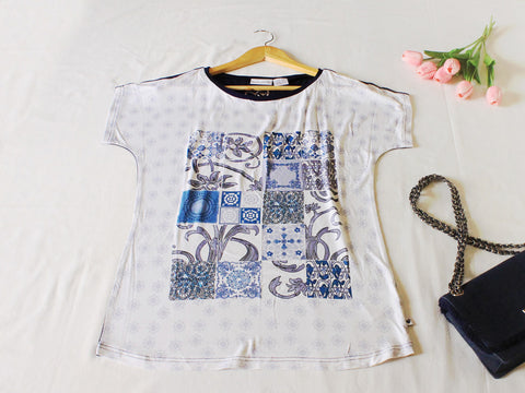 High Quality Women Printed Short Sleeves Shirt (Navy Blue + White)