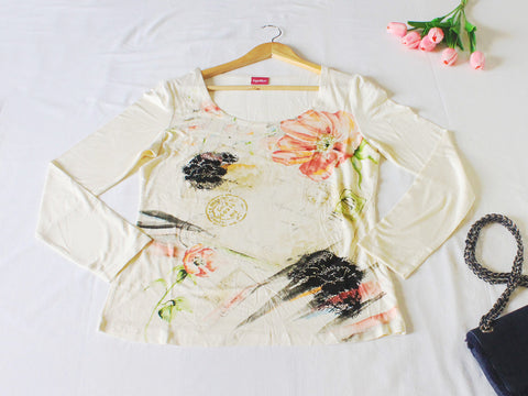 High Quality European Style Women Floral Long Sleeves (Beige)