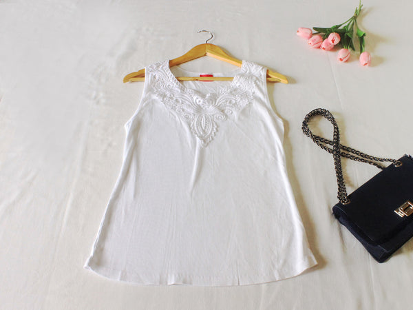 High Quality Women Casual White V Neck Sleeveless Tank Tops
