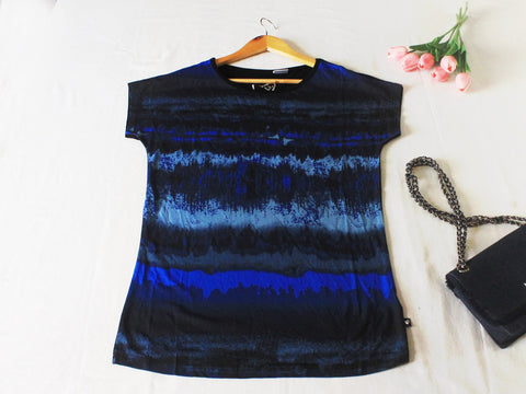 High Quality Women Printed Short Sleeves Shirt (Black + Blue)