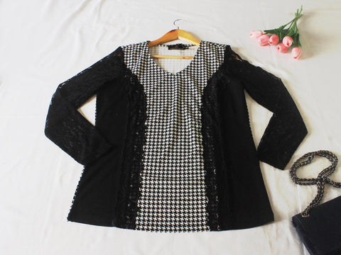 High Quality European Style Women Checkered Lace Long Sleeves (Black)