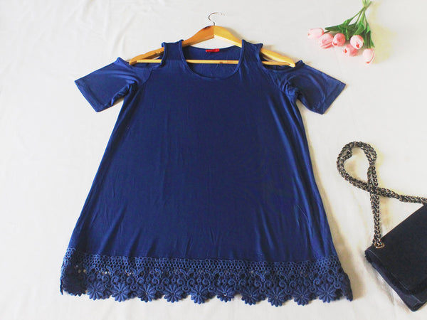 High Quality Off Shoulder Women Plus Size Blouse (Blue)