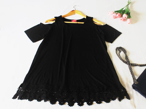 High Quality Off Shoulder  Women Plus Size Blouse (Black)