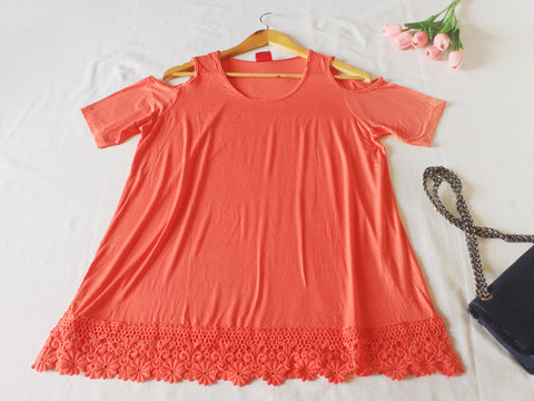 High Quality Off Shoulder Women Plus Size Blouse (Peach)