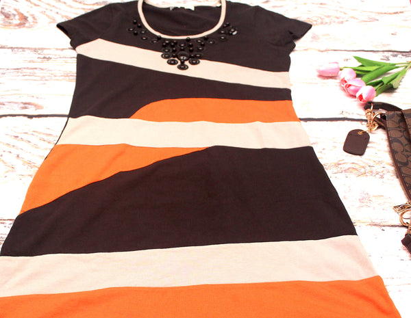 High Quality Women Dress Beads Design Plus Size (Black)
