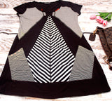 High Quality Women Dress Wide Neckline Stripes Design Plus Size (Black)