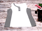 High Quality Women Sleveless VNeck Stripes Design (White)