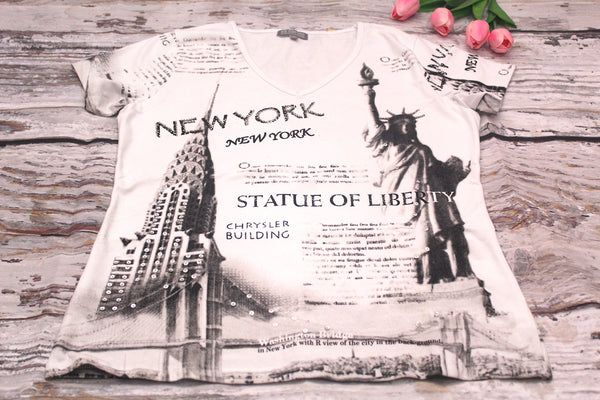 High Quality Short Sleeves New York Design Shirt (White)