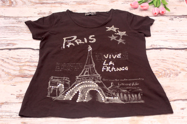 High Quality  Women Casual Short Sleeve Paris Design  (Black)