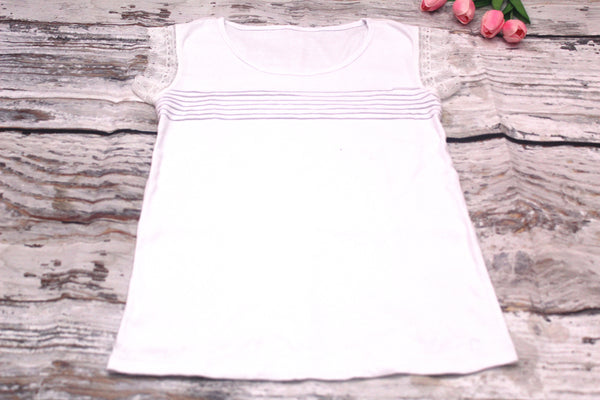 High Quality  European Style Women Casual Sleeveless Lace Design (White)