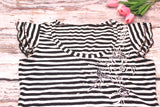 High Quality Women Casual Short Sleeves  Striped Beaded Floral Design