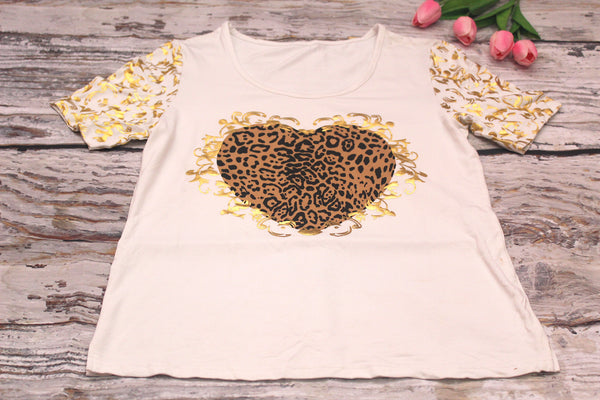High Quality Women Casual Short Sleeves  Gold Heart Design (White)
