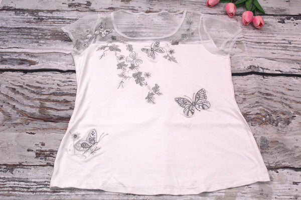 High Quality Women Casual Short Sleeves  Sheer Embroidered Design (White)
