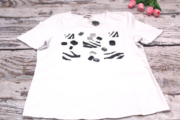 High Quality  European Style Women Casual Short Sleeves Black Gem design  (White)
