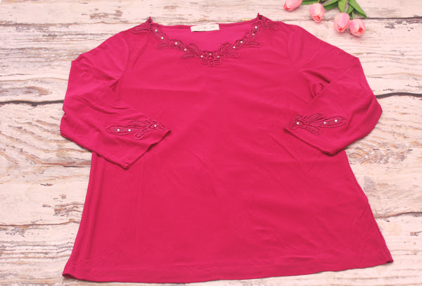High Quality  European Style Women Long Sleeves Embroidered Design Plus Size (Red Violet)