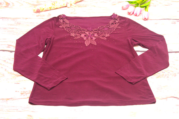 High Quality  Women Long Sleeves Embroidered Floral Design (Violet)