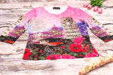 High Quality  Women Long Sleeves Pisa Leaning Tower Design (Pink)