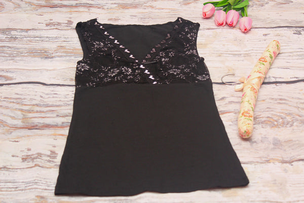 High Quality  Women Sleeveless Lace Design (Black)