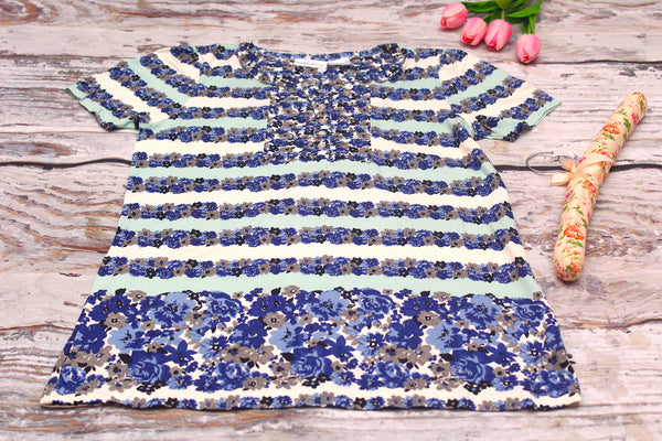 High Quality  European Style Women Short Sleeves Blue Floral design