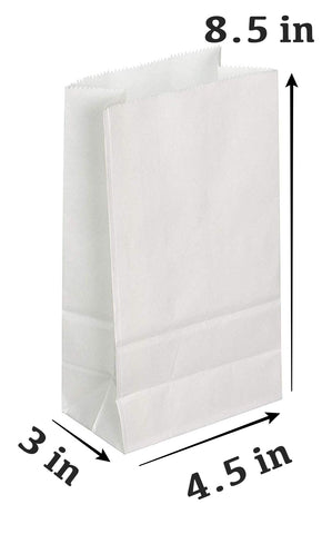 25 PCS SET - Regular White Paper Lunch Gift Bags