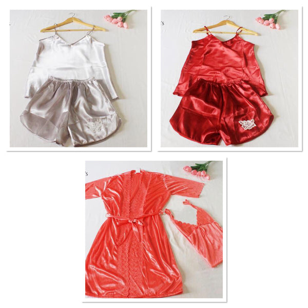 3 PCS SET - 2pcs Cami & Short Set + 1 Robe Sleepwear Set (SAVE P300)