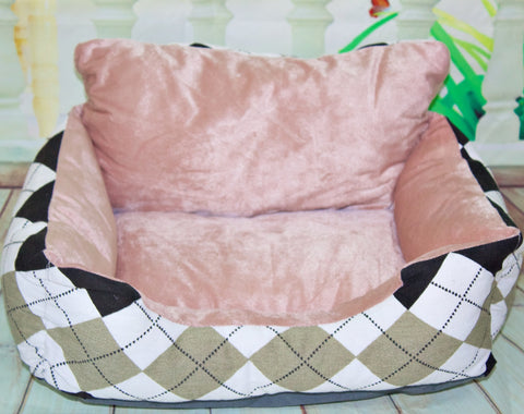 High Quality Ultra Soft Pet Dog Cat Checkered Design Gray Bed