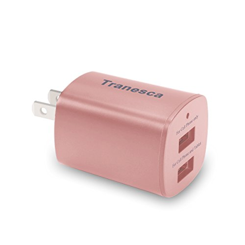 Tranesca 2.4 Amp Dual USB Port travel wall charger cube with foldable plug for iPhone