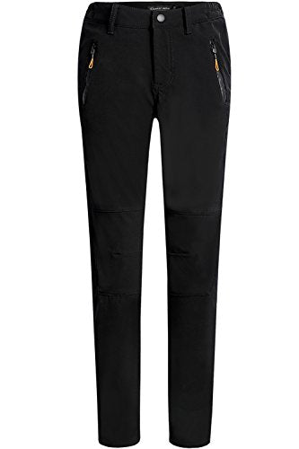 Camii Mia Women's Windproof Waterproof Sportswear Outdoor Hiking Fleece Pants (W28 x L30, Black)