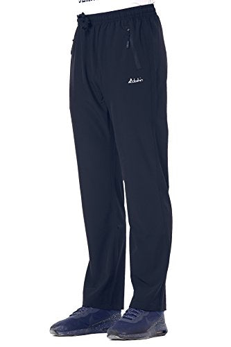 Clothin Men's Stretch Elastic-Waist Drawstring Pants with Front Zipper Pockets,Navy,M(33-35W30.5L/Regular)
