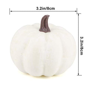 Jblcc 6PCS Rustic Harvest White Artificial Pumpkins/Mini Pumpkins for Halloween,Fall Thanksgiving Decorating