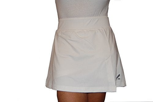 "Maks Ladies Running Cycling Tennis Athletic Skirt Skort (35/36"" Waist, White)"