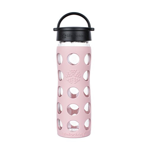 Lifefactory 16-Ounce BPA-Free Glass Water Bottle with Classic Cap and Silicone Sleeve, Desert Rose