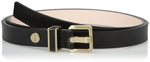 Calvin Klein Women's 20mm Semi-Shine Belt with Metal Loop with Leather Inlay, Black, Medium
