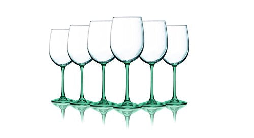 Aqua Wine Glasses with Beautiful Colored Stem Accent - 19 oz. set of 6- Additional Vibrant Colors Available