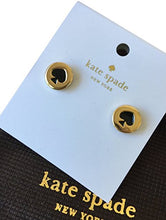 Load image into Gallery viewer, Kate Spade New York Spot the Spade Black/Gold Stud Earrings