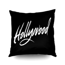 Load image into Gallery viewer, Capsceoll hollywood script white Decorative Throw Pillow Case 18X18Inch,Home Decoration Pillowcase Zippered Pillow Covers Cushion Cover with Words for Book Lover Worm Sofa Couch