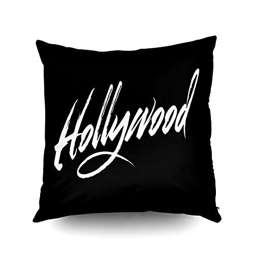Capsceoll hollywood script white Decorative Throw Pillow Case 18X18Inch,Home Decoration Pillowcase Zippered Pillow Covers Cushion Cover with Words for Book Lover Worm Sofa Couch