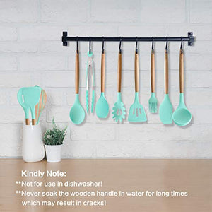 MIBOTE 11pcs Silicone Cooking Kitchen Utensils Set, Bamboo Wooden Handles Cooking Tool BPA Free Non Toxic Silicone Turner Tongs Spatula Spoon Kitchen Gadgets Utensil Set for Nonstick Cookware (Green)