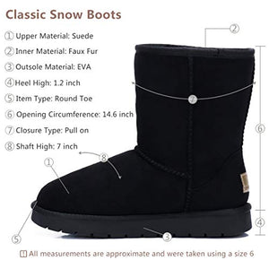 CAMEL CROWN Women's Warm Winter Boots Ankle High Classic Vegan Suede Faux Sheepskin Shearling Snow Boots