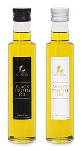 Black & White Truffle Oil Set (2 x 8.45 Oz) [Double Concentrated] by TruffleHunter - Extra Virgin Olive Oil - Vegan, Vegetarian, Kosher and Gluten Free