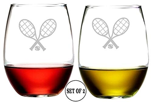 Tennis Racquets Stemless Wine Glasses | Etched Engraved | Perfect Fun Handmade Present for Everyone | Lead Free | Dishwasher Safe | Set of 2 | 4.25