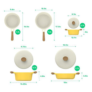 Vremi 8 Piece Ceramic Nonstick Cookware Set - Induction Stovetop Compatible Dishwasher Safe Non Stick Pots and Frying Pans with Lids - Dutch Oven Pot Fry Pan Sets for Serving - PTFE PFOA Free - Yellow