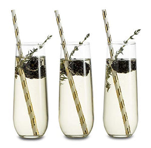 Libbey Stemless Champagne Flute Glasses, Set of 12