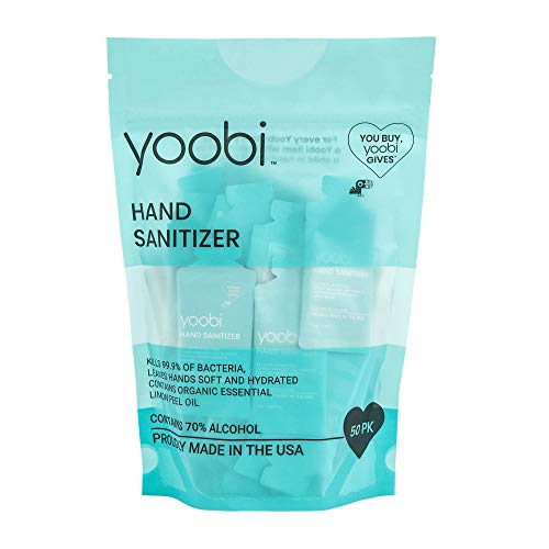 Yoobi | Hand Sanitizer Gel | Individually Wrapped Travel Packets | Bag of 50