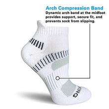 Load image into Gallery viewer, BERING Women's Performance Athletic Running Tab Socks, White/Grey, Size 6-9, 6 Pairs Pack