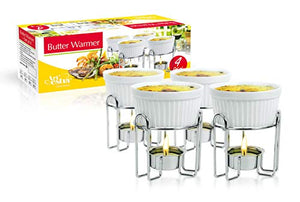 Artestia Ceramic Butter Warmer Set for Seafood (4, white)