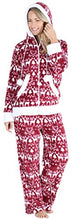 Load image into Gallery viewer, Frankie & Johnny Women's Fleece 2-Piece Zip-Up Hooded Loungewear Pajama Set, Cranberry Winter, XL