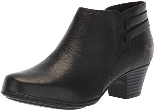 Clarks Women's Valarie2Ashly Fashion Boot, Black Leather, 080 W US