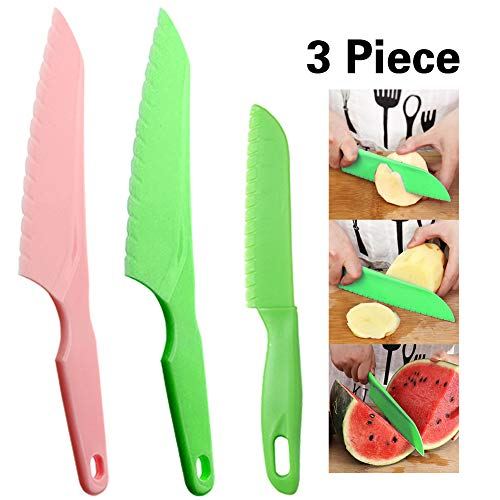 Snowyee Lettuce Knife, Tomato Knife Serrated Paring BPA Plastic Cutter No Hurt Fingers ( 1 Set )